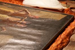 Restauro conservativo del dipinto ad olio sansone e i for Una planimetria della cabina del telaio